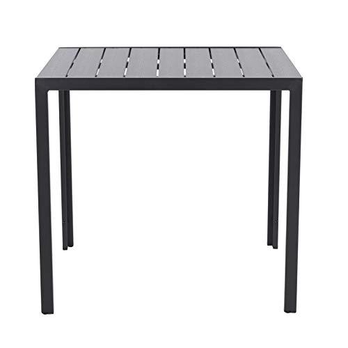 Aluminium Gartentisch 90x90 cm Polywood Esstisch Holzoptik in schwarz wetterfest