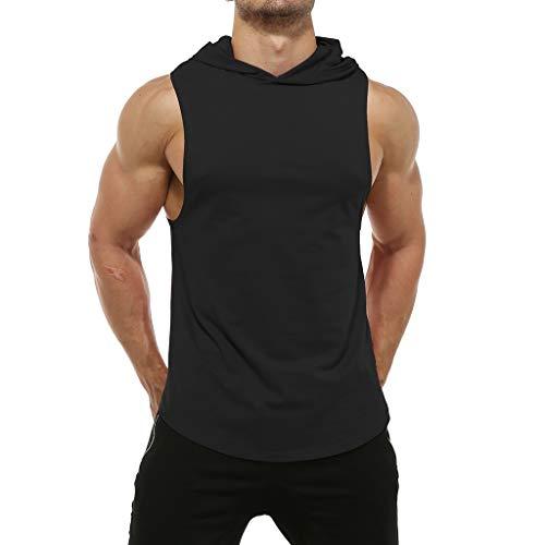 e Ärmellos Casual Sommer Volltonfarbe Swetshirt Weste Sport Fitness Top(Medium,Schwarz) ()
