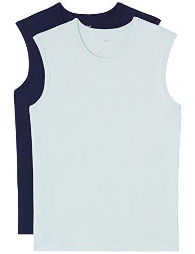 FIND Sporttop Herren ärmellos, Aus Jersey mit Enger Passform, 2er Pack, Mehrfarbig (Wash Blue X1, Navy), 50 (Herstellergröße: Medium) (Ärmelloses Jersey Herren)