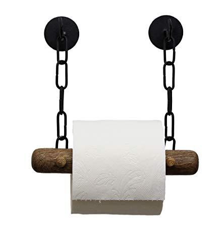 DEKAZIA® Toilettenpapierhalter ohne Bohren | selbstklebend | Mango Holz | Klopapierrollenhalter für WC/Badezimmer | Bad Vintage Deko | schwarz -