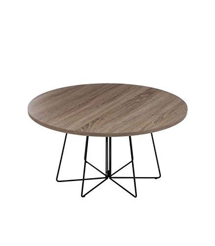 Table Basse Design Ronde en Bois et Métal - Diam. 80cm