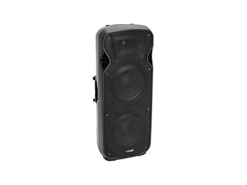 """Omnitronic VFM-2212AP 2-Wege Lautsprecher, aktiv   Box mit Player und Bluetooth, 2 x 12\"""" Woofer, 1\"""" Treiber, 150 W RMS   MP3-Player mit Bluetooth-Empfänger, blauer LCD-Anzeige und IR-Fernbedienung"""
