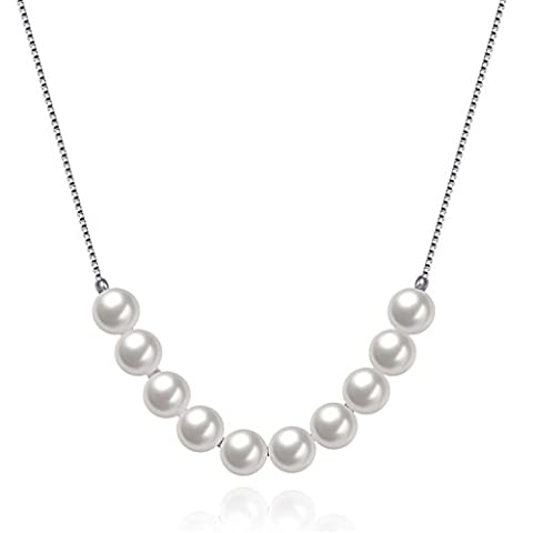 HMILYDYK women Newest Fashion Necklace Sterling Silver Vintage White Freshwater Cultured Shell Pearl