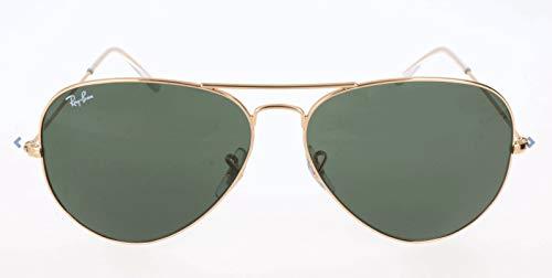 Ray Ban Unisex Sonnenbrille Aviator Large Metal II, Gr. X-Large (Herstellergröße: 62), Gold(Gestell: Grün, Gläser: Kristall Grün)