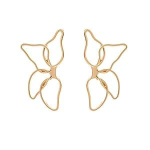 ZYUEER Frauen Arbeiten PopuläRe Durchbrochene Blumen Blatt Schmetterlings Legierungs Ohrring Schmucksachen Um