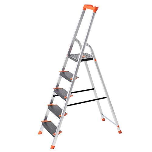 SONGMICS Leiter 5 Stufen, Aluleiter mit 12 cm breiten Stufen, Stehleiter mit Werkzeugschale, Klappleiter mit Anti-Rutsch-Füßen, max. statische Belastbarkeit 150 kg GLT05BK