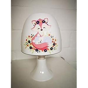 ✿ Tischlampe ✿ Fuchs Fox pink blau Baby Schmetterling Herz personalisiert Name ✿ Tischleuchte ✿ Schlummerlicht ✿ Nachttischlampe ✿ Lampe ✿