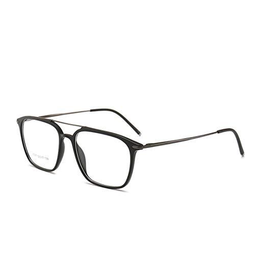 Sakuldes Quadratischer Brillenrahmen, doppelte Nasenbrille, Nicht verschreibungspflichtige Brille für Damen und Herren Matte Black