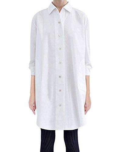Mujeres 3/4 manga sólida camisa suelta vestido con 4 bolsillos