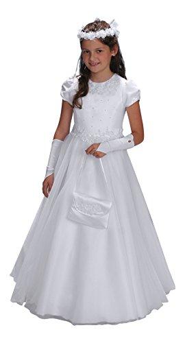 YES Claudia Kommunionkleid Kleid Kommunion Kommunionskleid, weiß, 152