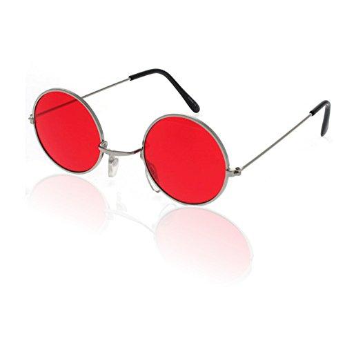 German Trendseller® - Brille John Lennon, Flower Power - Rot
