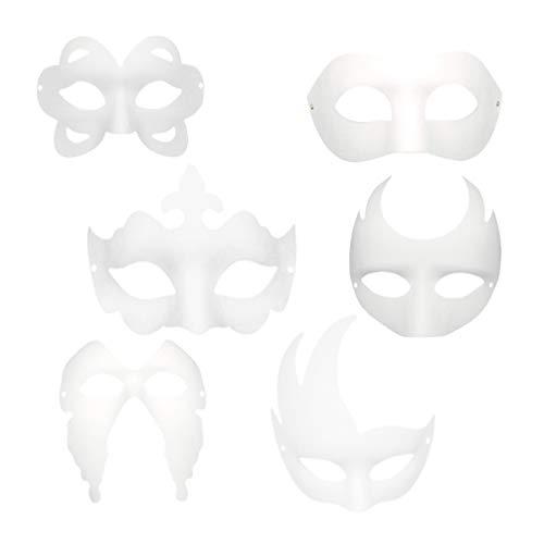 Kostüm Katze Gesicht Malen - TOYANDONA 12pcs Papier Blanko unbemalt Maske DIY weiße Maske zum Bemalen für Party Cosplay Halloween (Krone Schmetterling Katze usw.)