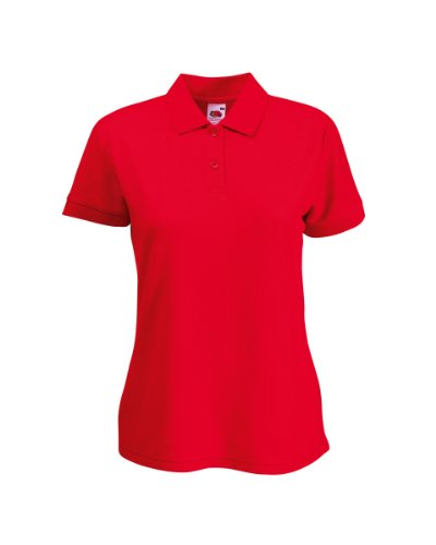 Fruit of the Loom Damen Lady-Fit Poloshirt 65/35 Rot S