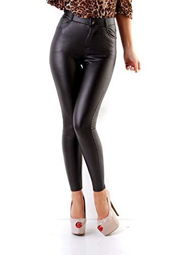 Fashion4Young 11075 Damen Röhrenhose Slimline Leder-Look Lederimitat Damenhose Wetlook Hose (7-schwarz, M=38)