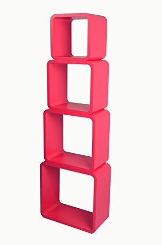 Mensola da muro libreria scaffale vari colori retrò cubi moderno lo02 (rosso)