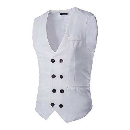 Boom Fashion Mode Veste Sans Manches Slim Homme Double Boutonnage Slim Gilet Blanc