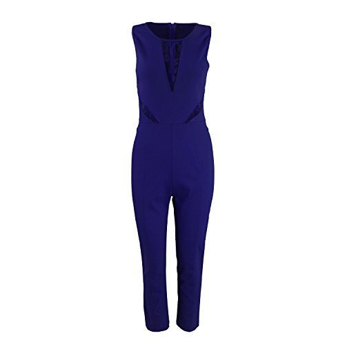 ab1eb9cde4a9 Elegant Damen Jumpsuit mit Spitze Lang Hosen Rundhals Ausschnitt Ärmellos    Kurzarm-Modelle Frauen Overall