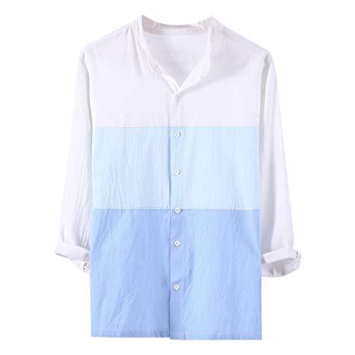 Feinny Individuelles Herren Oberteil T-Shirt Bluse Sale/Sommer Herren 3/4 Ärmel Vintage Casual Panel Farbe Baumwollhemd/Blau/S-2XL
