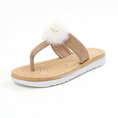 zhENfu donna pantofole & amp; flip-flops estate abito Felpa casual tacco basso pom-pom cammello a piedi neri Camel