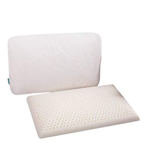 Do4U Slim Sleeper Kissen - Naturlatex Schaumkissen,dünn,nur 2,7 \'\' hoch Belüftet, Flacher,milbenresistent,antibakteriell,Anti-Staub,orthopädisch,hypoallergen,atmungsaktiv. Schulterschmerzentlastung