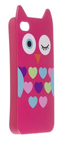 My Doodles DDIP4OWPI TPU Schutzhülle für Apple iPhone 4/4S niedlichen eulen pink (Affe Iphone 4s)