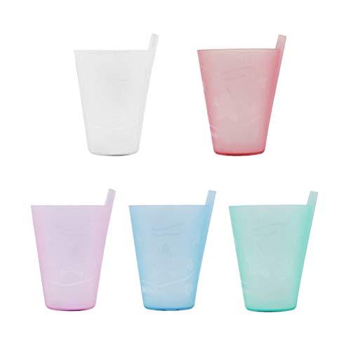 BESTONZON 5 stücke Sippy Saft Tasse Kunststoff Wassertrinkbecher mit Eingebautem Strohhalm für Kinder (301-400 ml) (Gemischte Farben) - Sippy Saft Cup