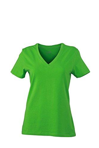 JN928 Ladies' Stretch V-T T-Shirts aus weichem Elastic-Single-Jersey, Größe:M;Farbe:limegreen (Baumwolle Shirt Gekämmte Twill)