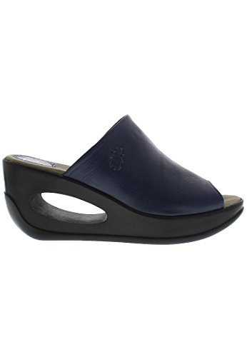 Fly London Womens HIMA868FLY Wedge Leather Sandals Bleu