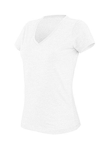 Kariban Womens V-Ausschnitt Kurzarm Melange T-Shirt Grün