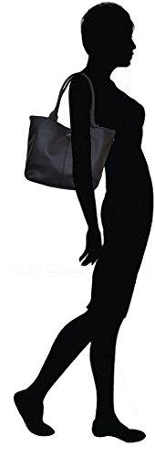 """David Jones - Sac Reversible avec Pochette assortie - Collection """"Les Rayures"""" - Porté épaule Noir"""