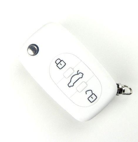 Preisvergleich Produktbild Brightparts® Weiss Silikon Schlüsseletui Hülle Etui Schlüssel Cover für Audi Klappschlüssel mit 3 Tasten