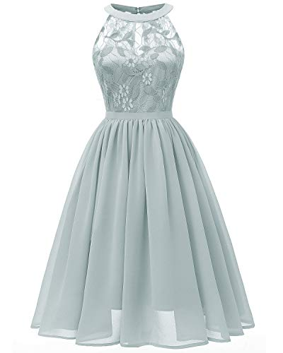 Viloree Damen Neckholder Floral Spitze Brautjungfern Partykleid Ärmellos Cocktail Kleid Airy Blau L