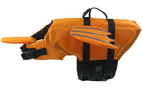 LOSVIP Schwimmweste Haustier reflektierende Weste verstellbare Outdoor-Badebekleidung Flügel Dekoration(Gelb,XL)