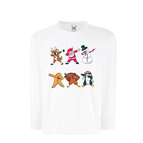 lepni.me Kinder-T-Shirt mit Langen Ärmeln Weihnachts Dab - Dabbing Weihnachtsmann-Rotwild-Schneemann (7-8 Years Weiß Mehrfarben)