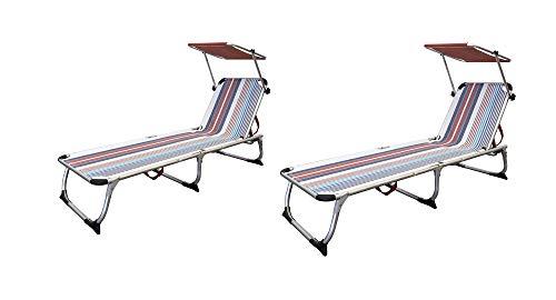 Xone coppia lettini vintage pieghevoli, mare, piscina, giardino, con parasole alluminio e textilene. dimensioni 189x59x29 cm