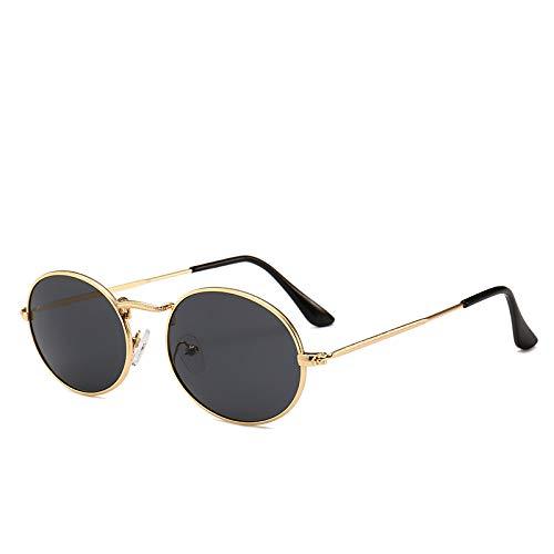 Yangjing-hl Koreanische Version der Metall kleinen Rahmen Sonnenbrille Retro ovalen Rahmen Sonnenbrille Ozean Film Sonnenbrille C Goldrahmen grau Stück