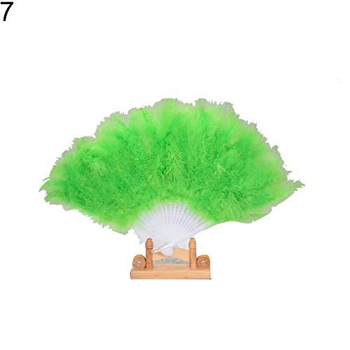 collectsound Handfächer, faltbar, Truthahn-Feder, einfarbig, grün, Einheitsgröße