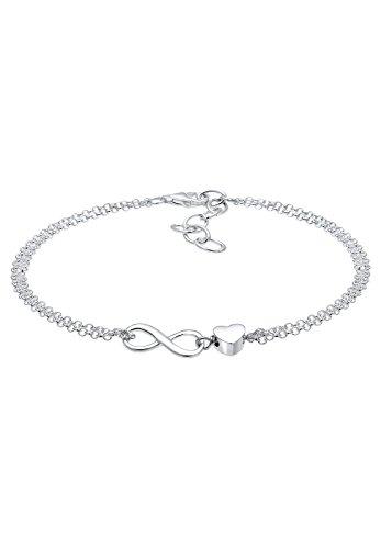 Elli Damen Schmuck Echtschmuck Armband Gliederarmband Infinity Herz Liebe Sterling Silber 925 Länge 16 cm