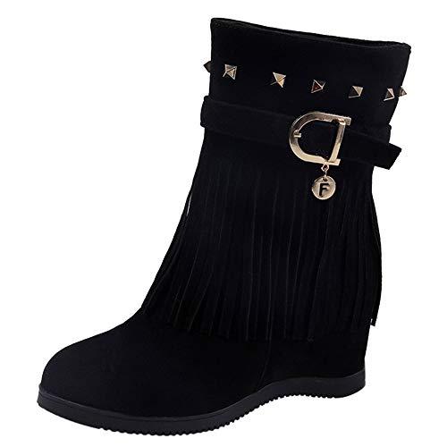 Sannysis Stiefeletten Damen Elegant Plattform Keilabsatz Quaste Stiefel Damenschuhe Erhöhte Plattform Fashion Casual Boots