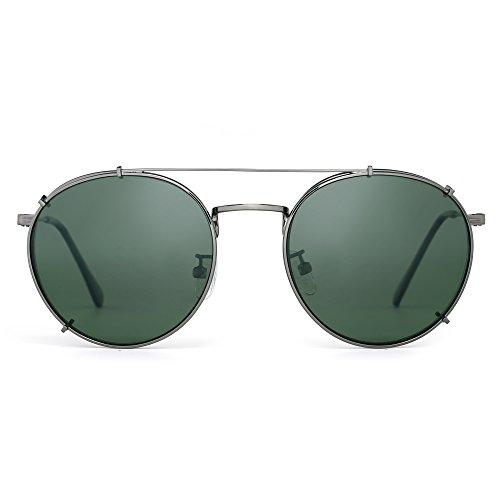 iert Sonnenbrille Clip an Flach Spiegel Brillen Dame Herre(Gunmetal/Grün) (Saisonale Visionen)