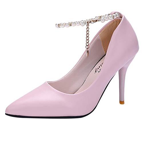 Damen Pumps Absatzschuhe Brautschuhe,Frauen High Heel Einzelschuh Schnalle Sandalen Elegante Party Hochzeit Schuhe mit Perlenverzierung,Hochhackig Abendschuhe Riemenpumps aus Leder Freizeitschuhe