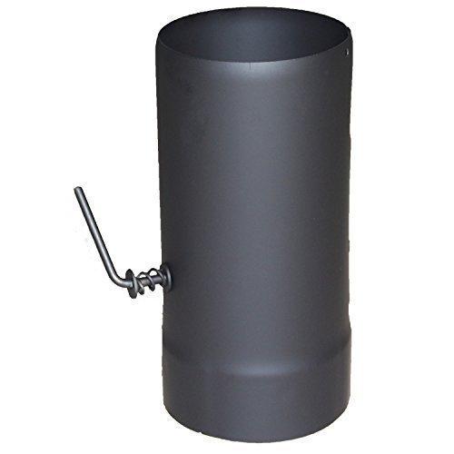 Ofenrohr-adapter (Ofenrohr mit Drosselklape - 120 x 250 mm, schwarz | Kaminrohr, Rauchrohr-Adapter für Kaminofen)