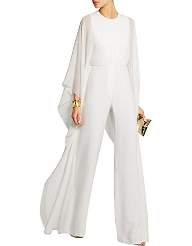 Memoryee Women's Sexy Chiffon Stitching Jumpsuit Wide Leg Pants High Waist Rompers Casual Playsuit