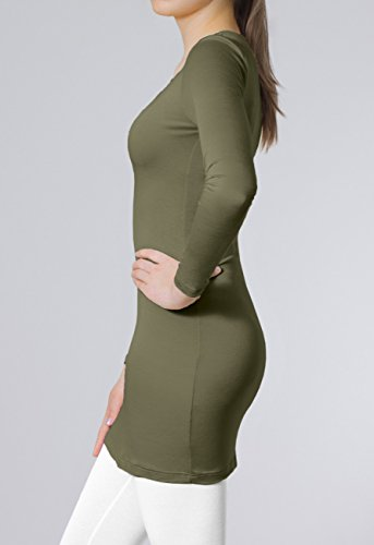CASPAR SRT012 Damen Basic Longshirt Oliv Grün