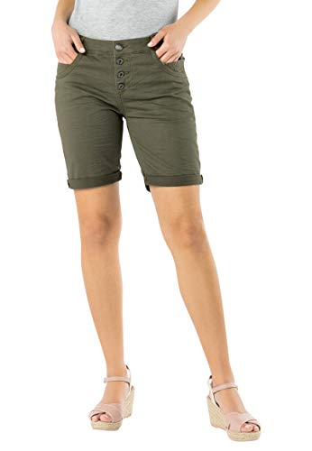 Urban Surface Damen Bermuda Shorts | Bequeme Kurze Stoffhose aus Stretch-Twill - Loose Fit Green S