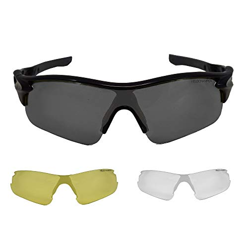 VeloChampion Warp Montatura Occhiali da Sole per Ciclismo (con 3 Lenti: incl. Sfumata, Trasparente) (Nero)