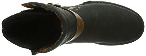 Rieker Z9962-00, Stivali altezza metà polpaccio Donna Nero (Schwarz (schwarz/mogano/orange-multi / 00))