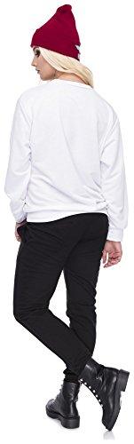 Damen Sweater Sweatshirt Pullover Pulli Hipster Blogger Style Frontprint Bad Girls Club Weiß