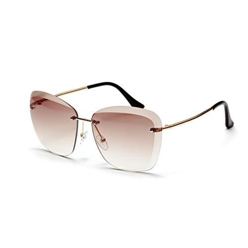 WULE-RYP Polarisierte Sonnenbrille mit UV-Schutz Frameless Full Lens Sonnenbrillen, stilvolle klare Farbbrillen für Frauen/Mädchen. Superleichtes Rahmen-Fischen, das Golf fährt (Farbe : Tawny)