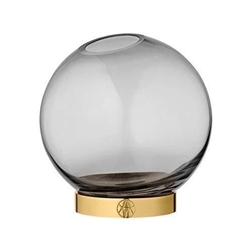 AYTM - Vase/Blumenvase - Globe - Glas/Messing - schwarz/Gold - Ø21 cm - Höhe 21 cm (Schwarz Und Gläser Gold)